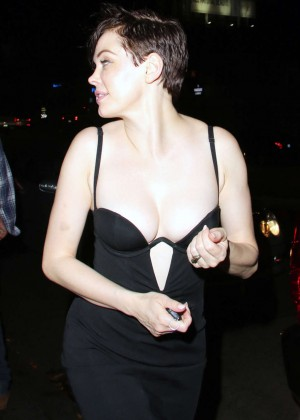 Rose McGowan in a Black Dress at Chateau Marmont