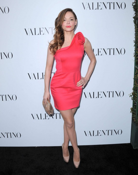 Rose McGowan legs in tight dress at Valentino Rodeo Store Opening
