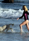 Rosie Huntington Whiteley - bikini candids in Malibu -15