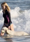 Rosie Huntington Whiteley - bikini candids in Malibu -18