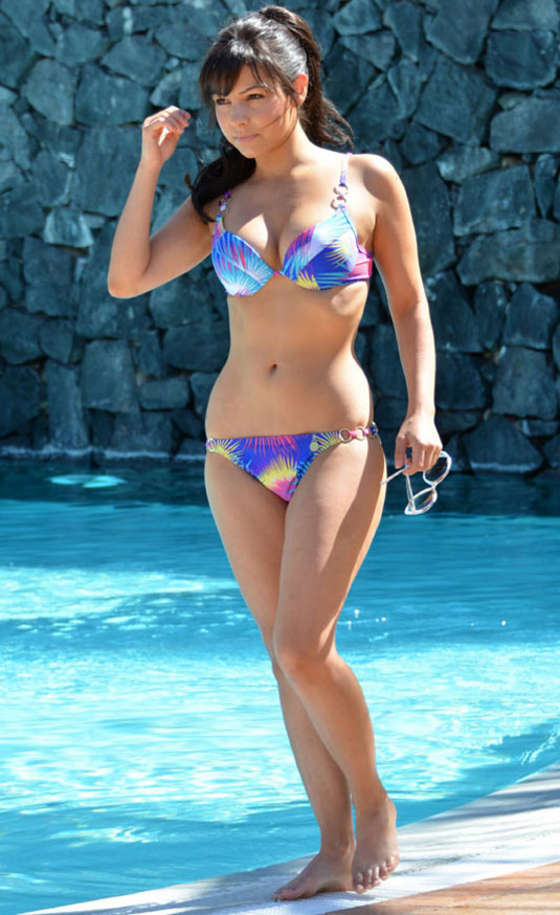 Roxanne Pallett - Bikini at a Pool in Tenerife