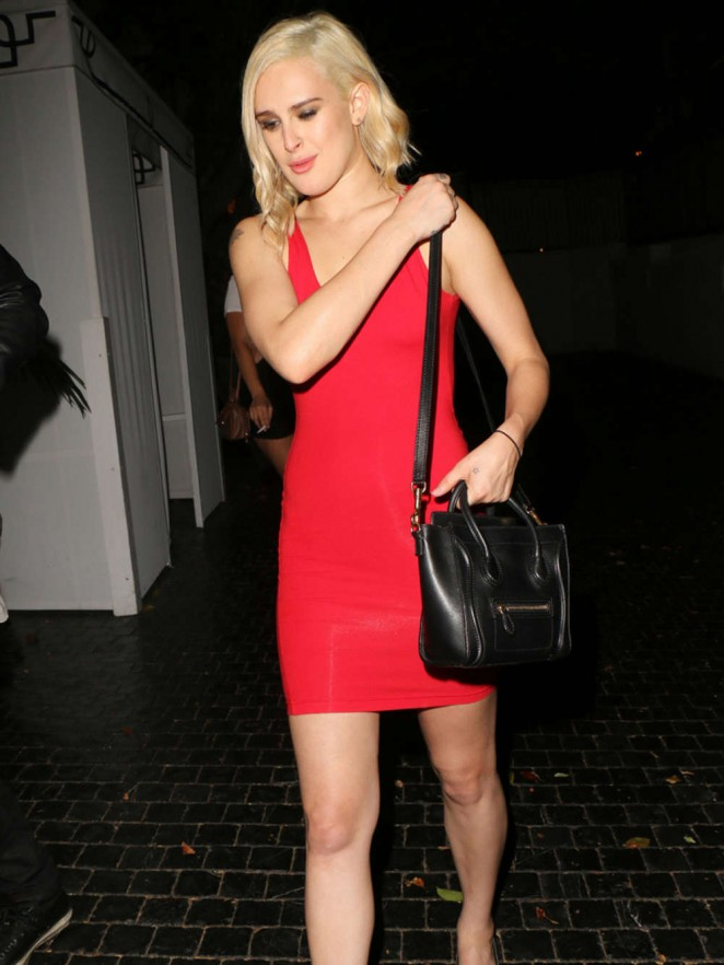 Rumer Willis in a Red Tight Dress at the Chateau Marmont in West Hollywood adds