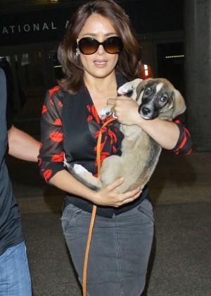 Salma Hayek Arriving at LAX Airport in LA