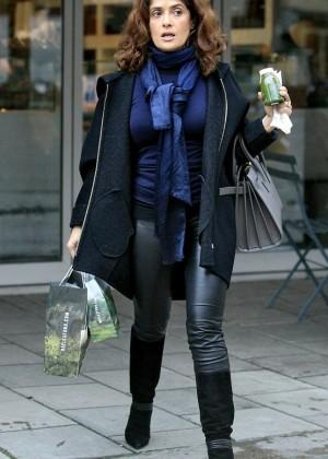 Salma Hayek - Wears Leather Out Shopping in London's Belgravia