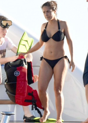 Salma Hayek in Black Bikini at a Yacht in St. Barts