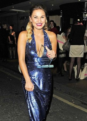 Sam Faiers in Blue Dress Leaving The Pure Beauty Awards 2014 in Lonon