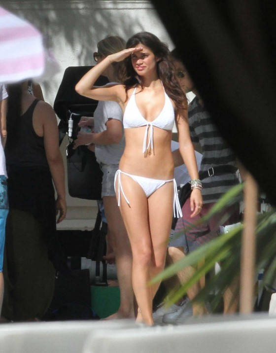 Sara Sampaio heat up a poolside photo shoot for Victorias Secret in Miami Beach