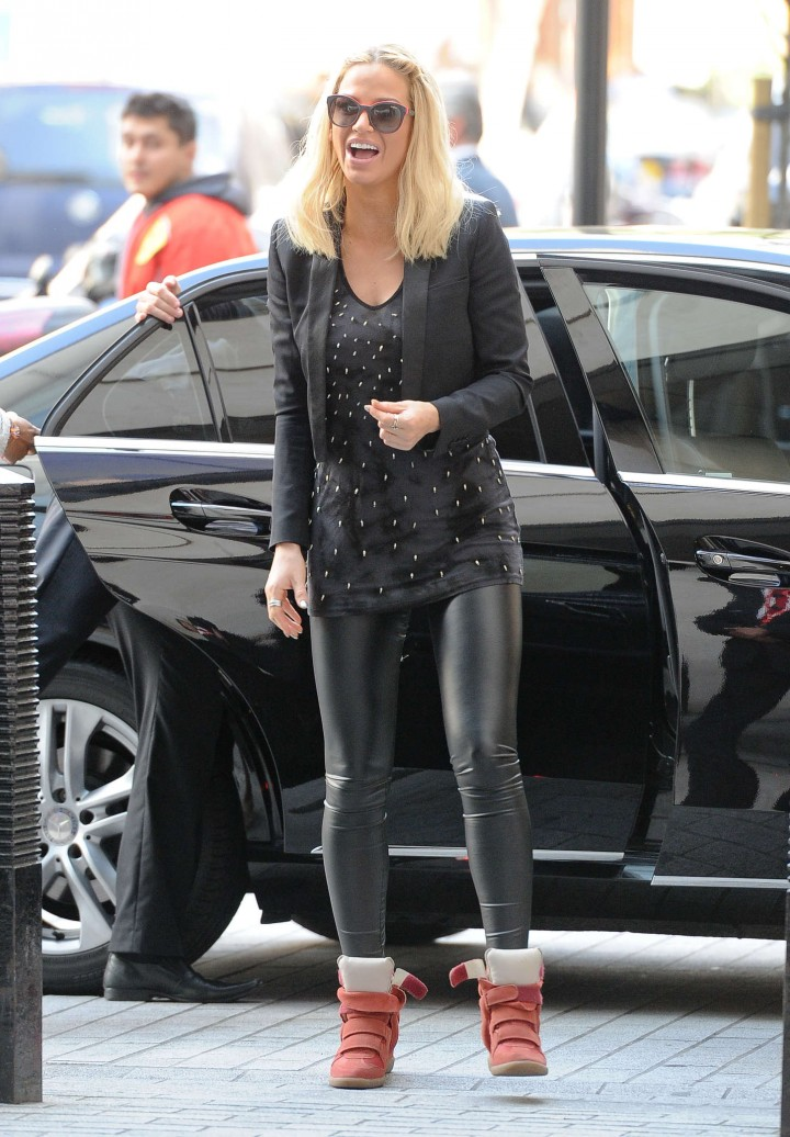 Sarah Harding In Leather Pants At Bbc Radio 1 Studios In