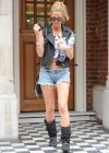 Sarah Harding - in jean shorts out & about in London