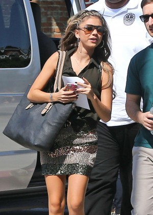 Sarah Hyland in Mini Skirt on the set of 'Modern Family' in LA