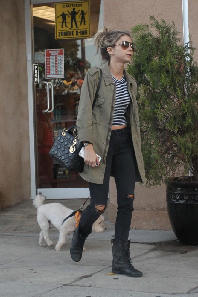 Sarah Hyland Walking her dog out in LA