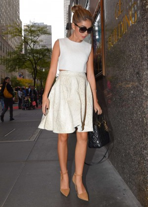 Sarah Hyland in White Dress out in Manhattan