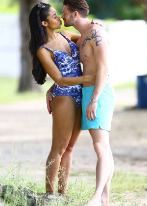 Sarah-jane Crawford in Blue Swimsuit on the Beach in Barbados