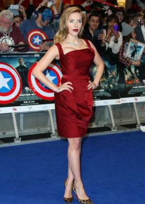 Scarlett Johansson in Red Dress - Premiere Captain America: The Winter Soldier-07