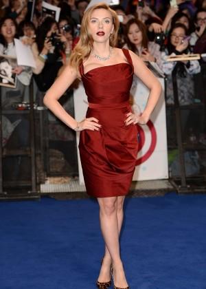 Scarlett Johansson in Red Dress - Premiere Captain America: The Winter Soldier-12