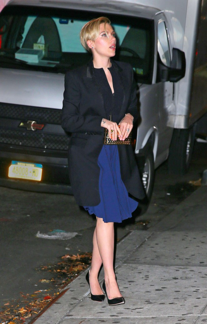 Scarlett Johansson in Blue Dress out in NYC