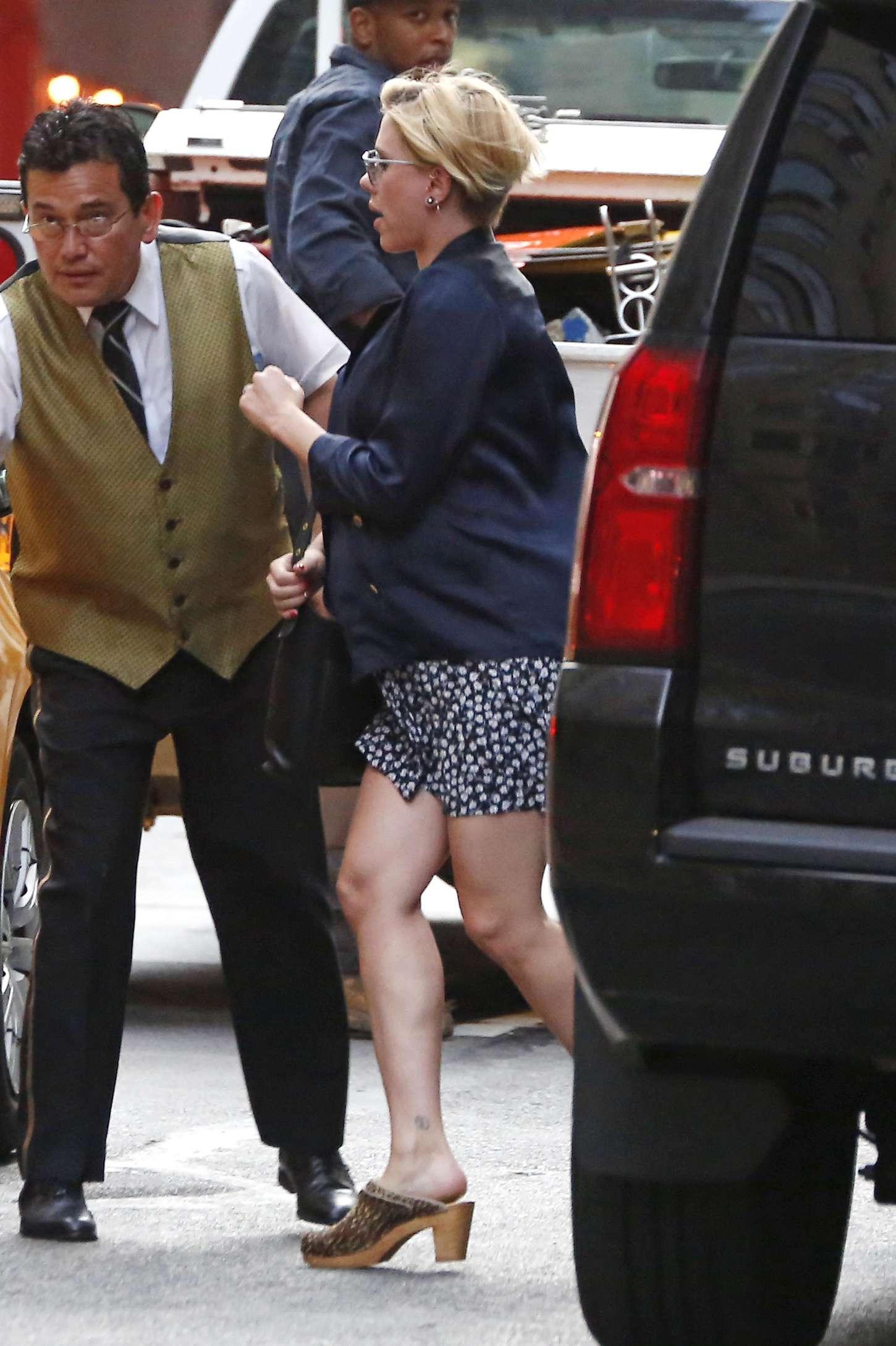Scarlett Johansson in Mini Dress out in New York City