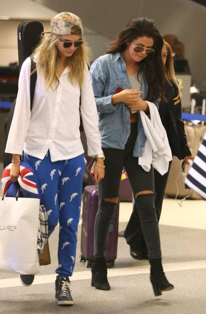 Selena Gomez and Cara Delevingne at LAX Airport