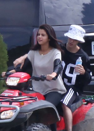 Selena Gomez & Justin Bieber at ATV Riding in Canada