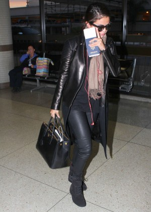 Selena Gomez in Leather at LAX Airport in LA