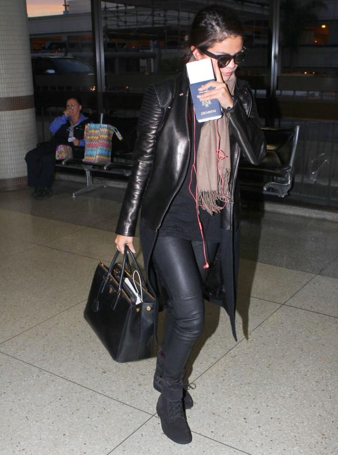 Selena Gomez in Leather at LAX Airport in LA
