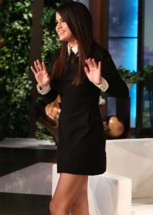 Selena Gomez Leggy in Mini Dress at The Ellen DeGeneres Show in Burbank