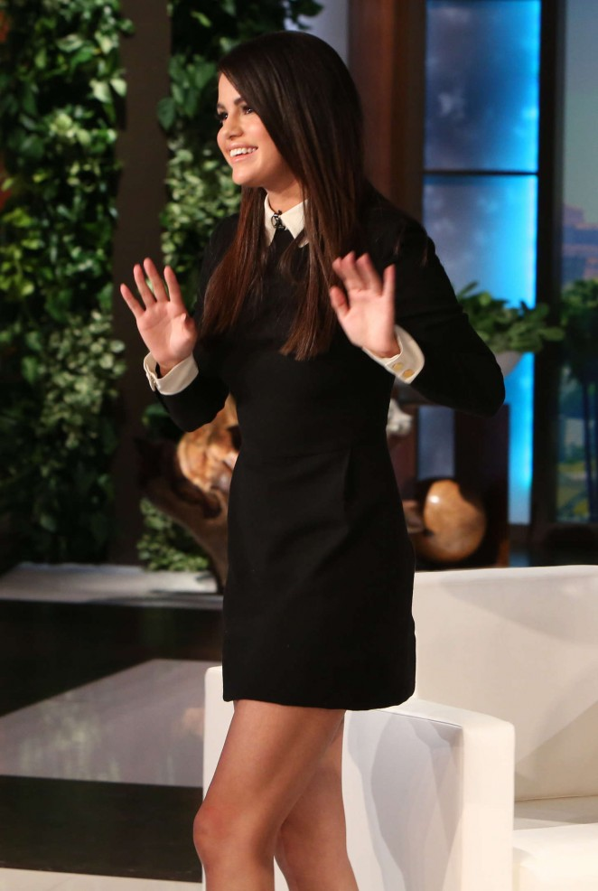 Selena Gomez Leggy in Mini Dress at The Ellen DeGeneres Show in Burbank