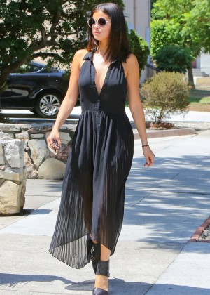 Selena Gomez In Black Dress Heading to lunch in Los Angeles