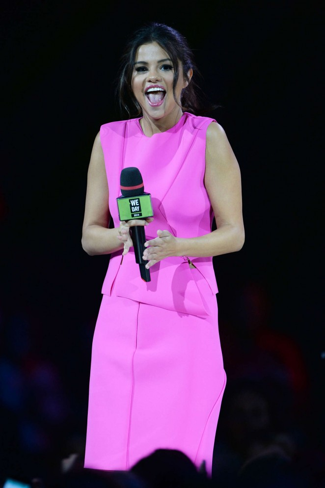 Selena Gomez in Pink Dress Hosting 'We Day Vancouver!' in Vancouver