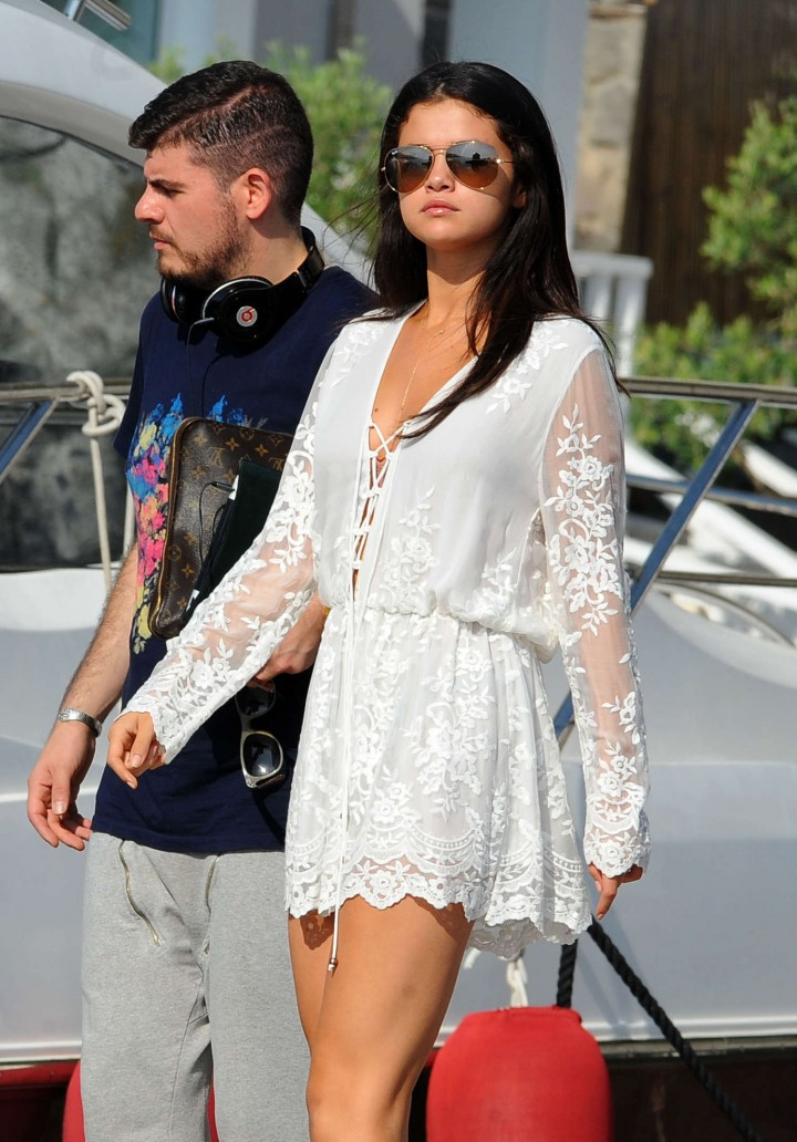 Selena Gomez in White Dress - Leaving Hotel Della Regina Isabella in Ischia