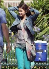 Selena Gomez in green tight jeans on the set of Parental Guidance