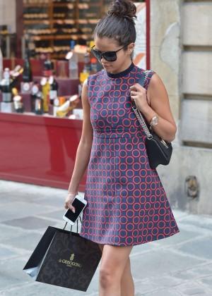 Selena Gomez in Mini Dress out shopping in Paris