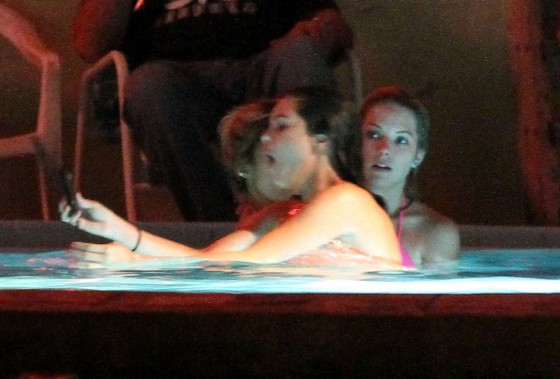Selena Gomez and Vanessa Hudgens Bikini Pool Party on set of Spring Breakers-09