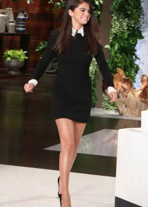 Selena Gomez in Black Mini Dress at The Ellen DeGeneres Show in Burbank