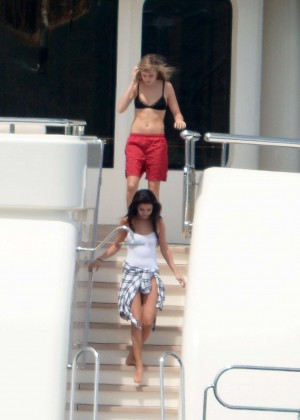 Selena Gomez in White Swimsuit on a Boat in St Tropez