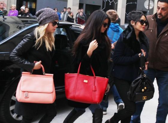 Selena Gomez with Vanessa Hudgens and Ashley Benson - Shopping Candids in Paris -32