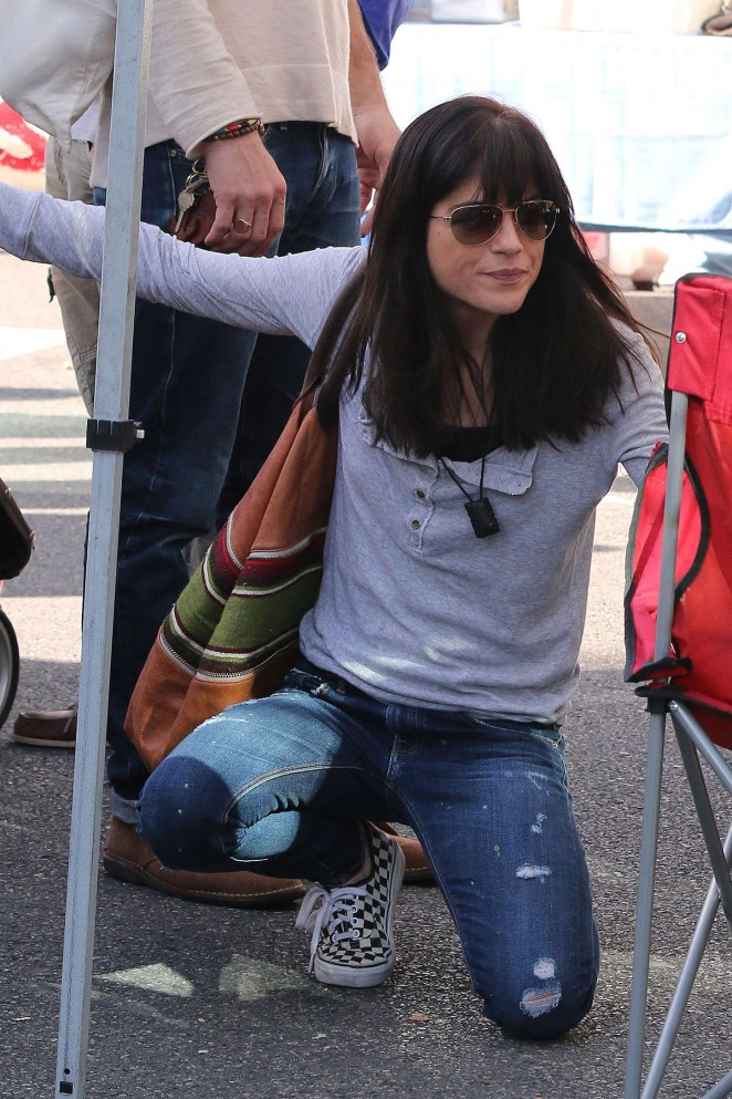 Selma Blair in Jeans at Farmer's Market in LA