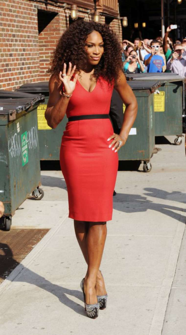 Serena Williams in red dress-03 - GotCeleb