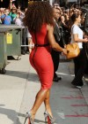 "Serena Williams Hot in red tight dress posing for fans outside of ""The Late Show with David Letterman"""