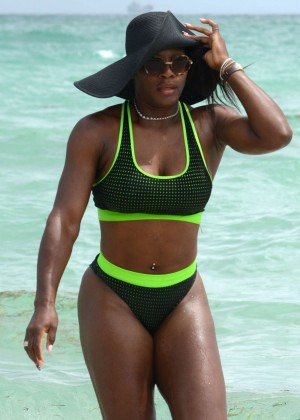 Eva Longoria & Serena Williams - Bikini Candids on the Beach in Miami