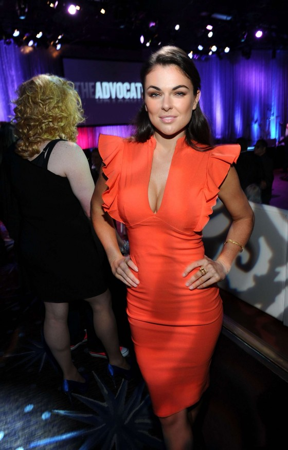 Serinda Swan cleavage in tight dress at The Advocate 45th Anniversary