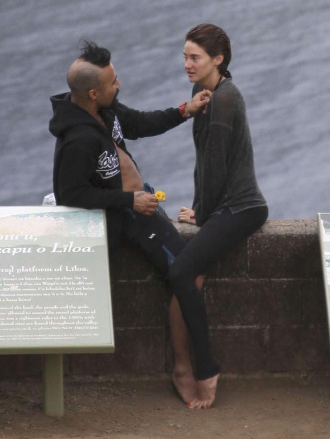 Shailene Woodley with her boyfriend on the Hamakua coast in Hawaii