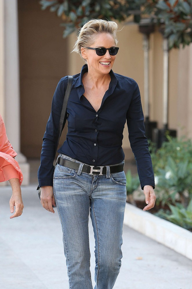 Sharon Stone in Jeans Out in Beverly Hills