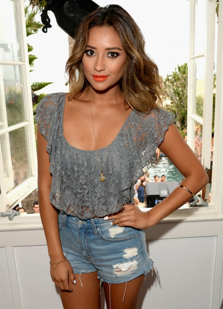 Shay Mitchell in Shorts at Lucy Hale Performance at the Hollister House in Santa Monica
