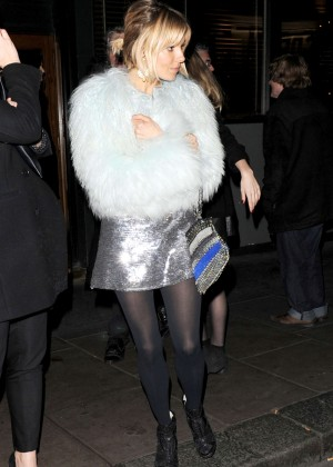 Sienna Miller in Short Silver Dress at Groucho Club in London