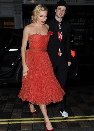 Sienna Miller in Red Dress at the Chiltern Firehouse to Celebrate Mario Testino's 60th Birthday in London