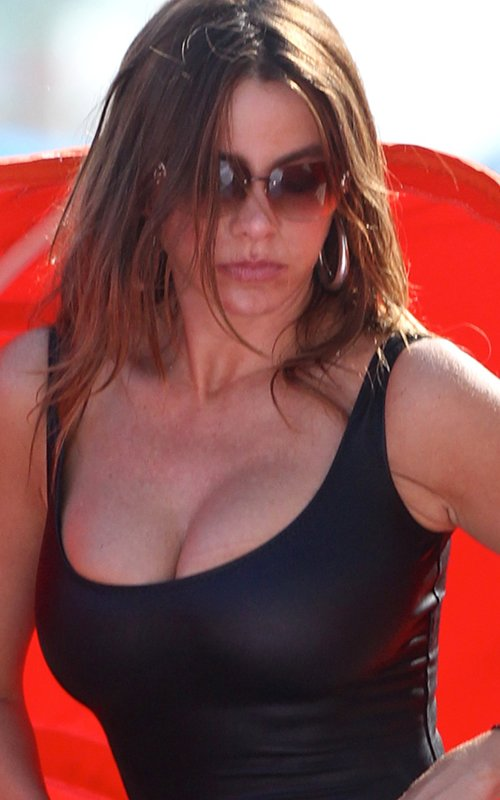 Sofia Vergara - wearing black swimsuit at a beach in Miami