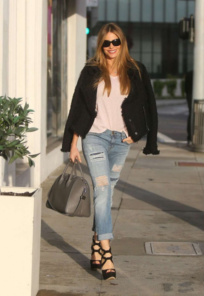 Sofia Vergara in Tight Ripped Jeans out in Beverly Hills