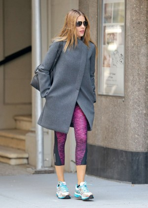 Sofia Vergara in Leggings and Coat out in NYC