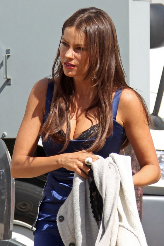 Sofia Vergara - Tight Dress and Incredible Boobs On Set Of Modern Family